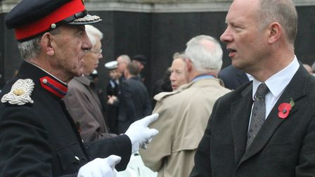 Cmdr John Ludgate meeting Tower Hamlets' new chief executive for the first time at the 2015 Remembra