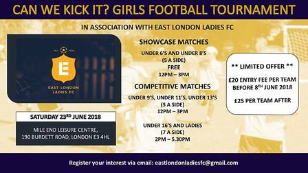 East London Ladies FC are hosting a tournament called 'Can She Kick It?'