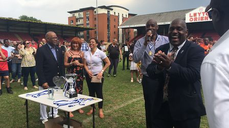 Errol McKellar is all smiles during the presentation after the 'Big Match, Big Cause' event at Leyto