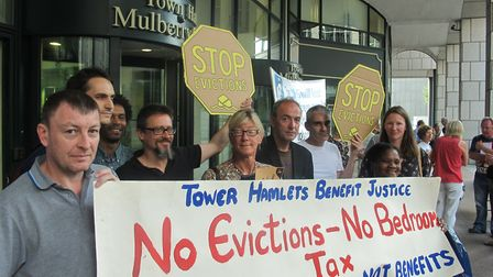 Campaign for renters' charter starts with lobby of Tower Hamlets Council in 2015. Picture: Mike Broo