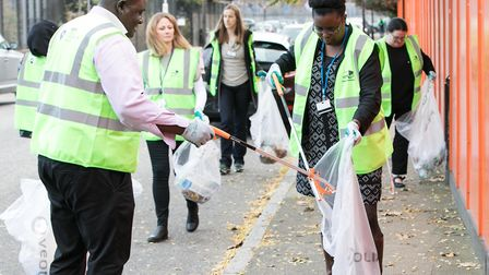 Volunteers who joined the Big Clean Up in Cotton Street, Poplar, in October. Picture: Kios Miah
