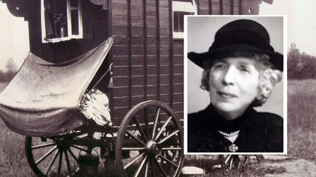 Maria Dickin, 1870-1951, PDSA founder, and her first mobile clinic in converted gypsy caravan. Pictu