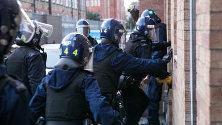 Police stormed addresses in Tower Hamlets and east London. Picture: Kois Miah
