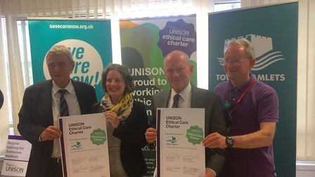 Mayor John Biggs with UNISON officials in 2016, signing an ethical contracts deal for care workers.