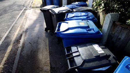 Rubbish (black) and recycling bins line a street .