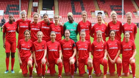The Leyton Orient women's team face the camera at Brisbane Road (pic: Orient WFC).