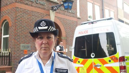 Met Police newly-appointed Central East Cmdr Williams arriving at her Bethnal Green HQ. Picture: Mik