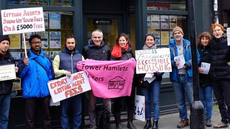 Renrters launching their campaign in east London in 2016 against lettings agencies' high fees. Pictu