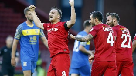 Charlie Lee celebrates scoring for Leyton Orient against Solihull Moors on August 8 2017 (pic: Simon