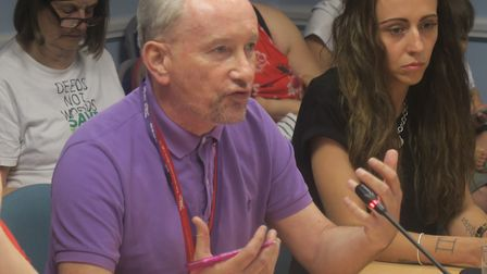 Unison's John McLoughlin leads union delegation pleading toTower Hamlets Council's cabinet to fight