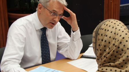 College principal Gerry McDonald interviewing for courses at Tower Hamlets campus. Picture: Mike Bro
