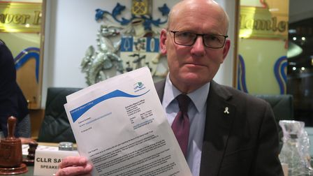 Mayor John Biggs with his letter to Island Health chair calling for her to resign, sent January 2018