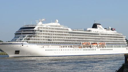Cruise liner berthed on the Thames between Isle of Dogs and Greenwich. Picture: Ralph Hardwick