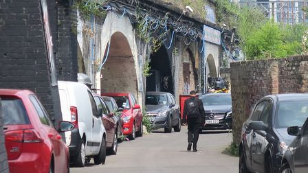 Several railway arches in an alley behind Bancroft Road, Stepney Green, have been left empty through