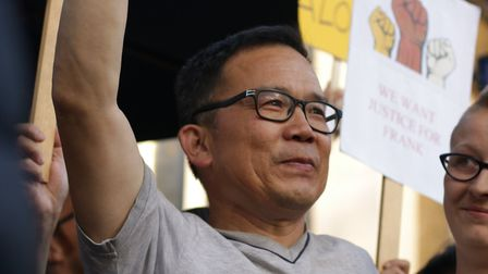 Frank Wang, who was moved to tears by the protest's show of support. Picture: Charles Cattel-Killick