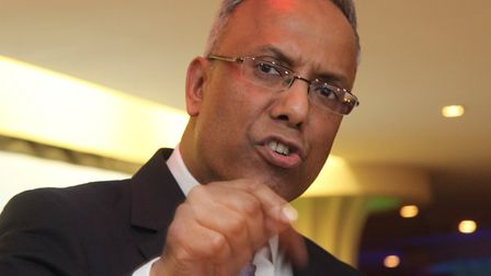Lutfur Rahman at Mile End rally of his supporters after 2015 High Court ban from office. Picture: Mi