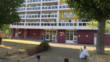 20-storey Gayton House in Knapp Road, where boy of 15 was stabbed on the forecourt. Picture: Mike Br