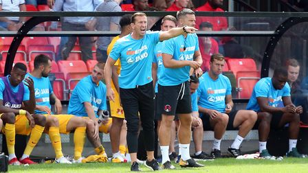 Leyton Orient head coach Justin Edinburgh issues instructions from the touchline (pic: Simon O'Conno