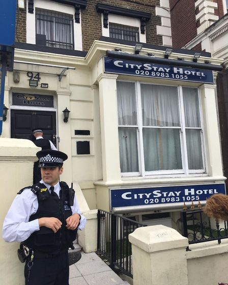 The two suspects stayed at the City Stay Hotel in Bow. Pic: Basit Mahmood