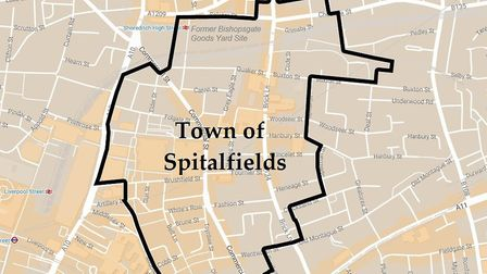 Proposed boundary of 'Spitalfields Town'. Picture source: Google
