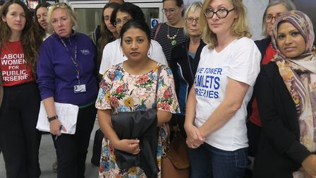 Mums picket Tower Hamlets Council over nursery closures. Picture: Mike Brooke