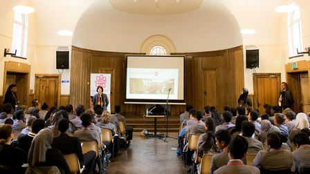 Dame Mary Archer speaking to students about her university education and career in science. Picture: