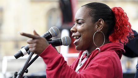 President of the National Union of Students, Shakira Martin, was one of the march's speakers. Pictur