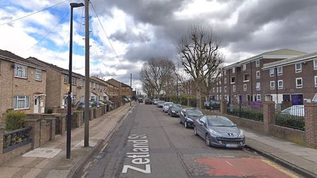 Zetland Street in Poplar, where the stabbing took place. Picture: Google