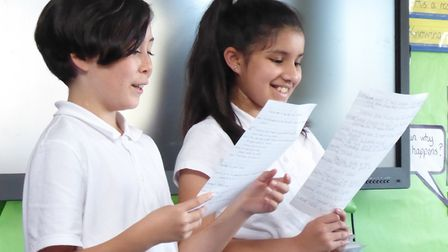 William Davis Primary School pupils learn their lines. Picture: Create