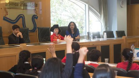 Students sat in the council chamber to get a taste of democratic decision making. Picture: LBTH