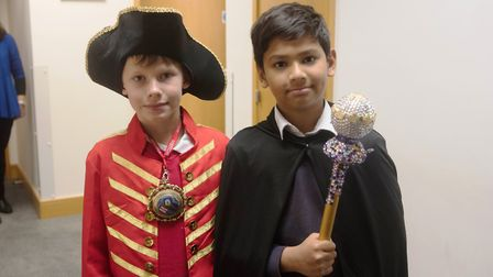 Children dressed up as the mace bearer and speaker. Picture: LBTH