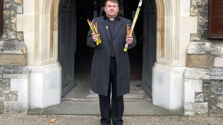 Rector of St Dunstan and All Saints Church, Revd Trevor Critchlow, who had a group at his church ter
