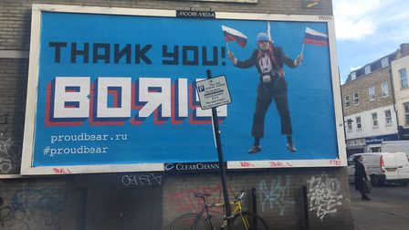 A billboard featuring Boris Johnson in Bethnal Green. Picture: Caitlin Doherty/PA
