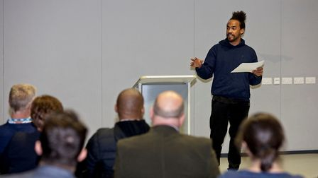 Dev Griffin speaking at Bow School. Picture: Alan Tucker/Bow Geezers