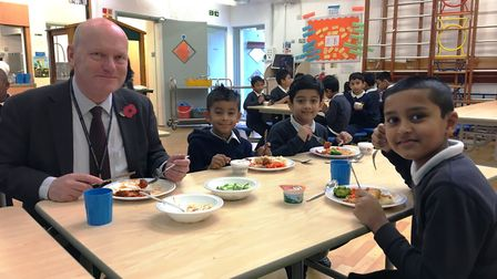Mayor of Tower Hamlets John Biggs with pupils from Kobi Nazrul Primary School. Picture: Tower Hamlet