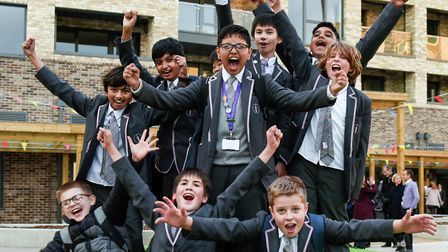 Children celebrating the opening of St Paul's Way Foundation School. Picture: Paul Eccleston