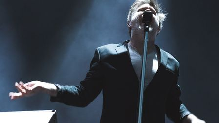 James Murphy of LCD Soundsystem performing at the band's Friday headline set at All Points East in V