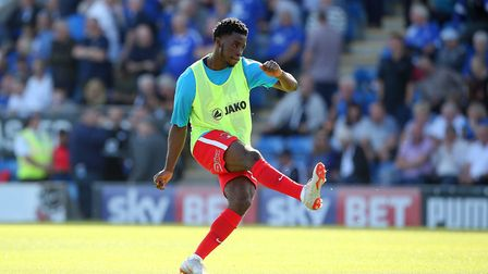 Leyton Orient's loan signing Levi Lumeka warms up (pic: Simon O'Connor).