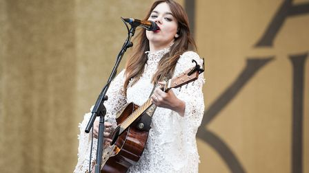 Klara S�derberg of First Aid Kit performs at the Isle of Wight Festival. Picture: David Jensen/PA