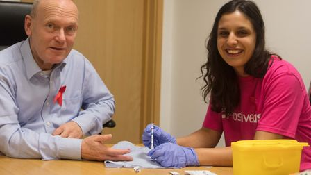 Mayor John Biggs gets HIV test as part of Tower Hamlets campaign for public awareness for World Aids