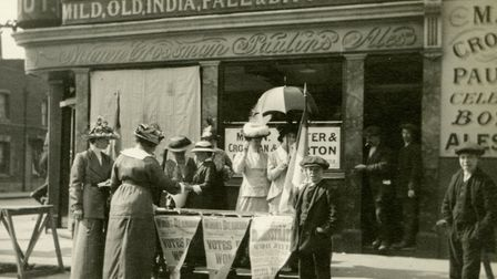 Suffragettes in the Roman Road c1915 selling their weekly newspaper The Woman's Dreadnaught. Picture