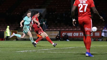 Macauley Bonne scores to put Leyton Orient 2-0 up against Gateshead after great work by James Alabi