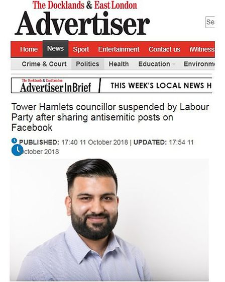 Cllr Pappu's suspension from Labour reported in the Advertiser, October 11, 2018.