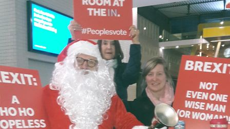 Even Santa backs call for a People's Vote on Brexit at Excel rally. Picture: Allis Moss