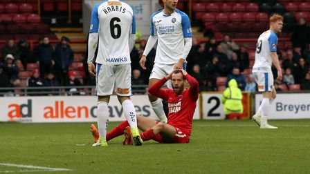 Leyton Orient winger James Dayton reacts after missing a chance (pic: Simon O'Connor).