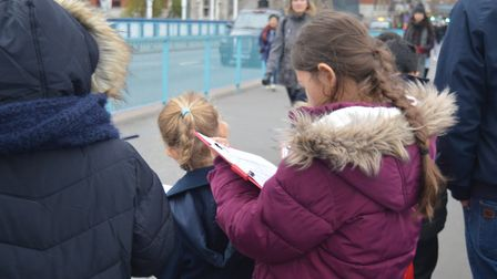 Youngsters join artist Imogen Piper's 'statistics' workshop to help create an artwork showing how To