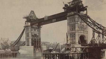 Tower Bridge under construction in 1893, a year before completion when it was opened by the Prince o