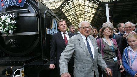 Sir Nicholas Winton at the 2008 reenactment at Liverpool Street station. Picture: Olivia Harris