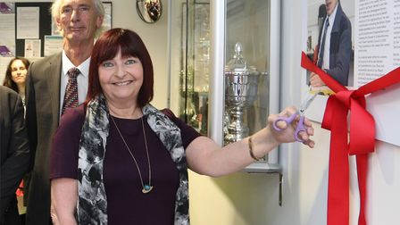 Bernie'�s daughter Gill Bassam cuts ribbon to rename community centre after her dad, watched by ex-T