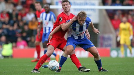 Leyton Orient midfielder Craig Clay battles with Hartlepool United's Nicky Featherstone (pic: Simon